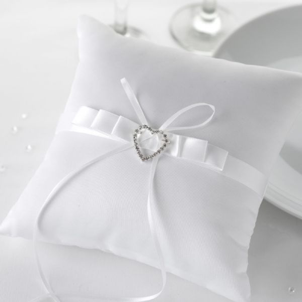 Vintage Romance White & Silver Heart Wedding Ring Cushion
